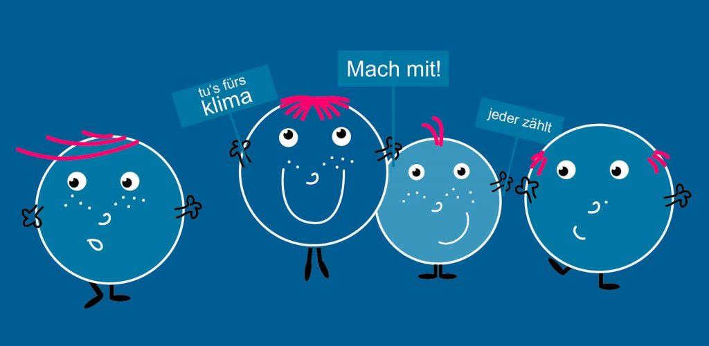 Grafik blaue Smileys mit Transparenten | Klimtipps Karl Klima